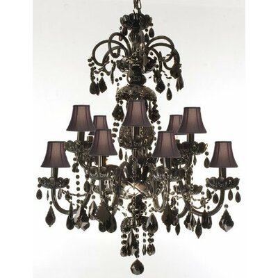 Royal 12-Light Crystal Chandelier Shade Color: Brown, Crystal Color: Clear