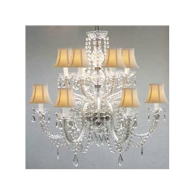 Kempf 12-Light Crystal Chandelier Shade Color: White