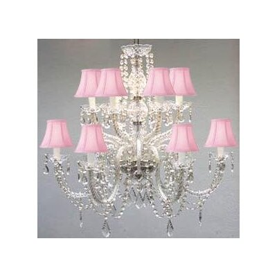 12-Light Crystal Chandelier Shade Color: Pink