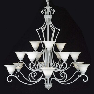 Faxon 15-Light White Shaded Chandelier