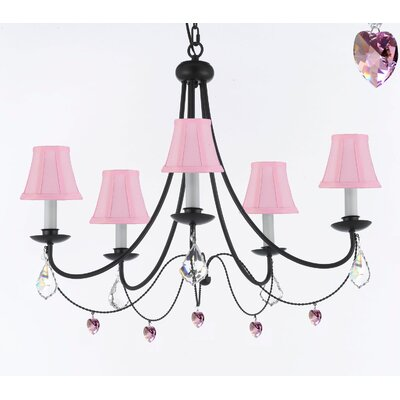 Clemence 5-Light 40W Pink Shaded Chandelier