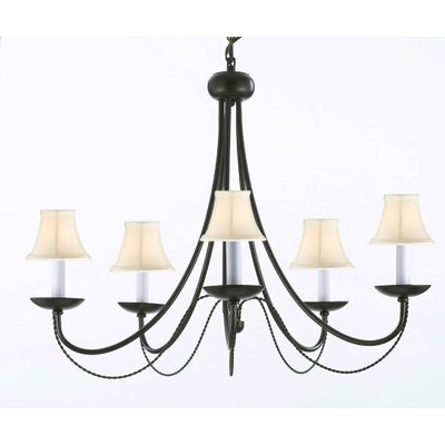 Faxon 5-Light Black Chain Shaded Chandelier