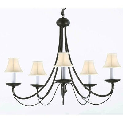 Faxon 5-Light Wrought Iron Base Shaded Chandelier