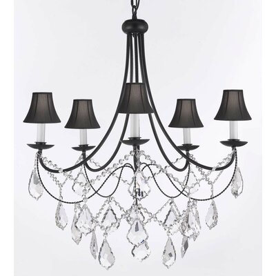 Clemence 5-Light Black Shade Crystal Chandelier