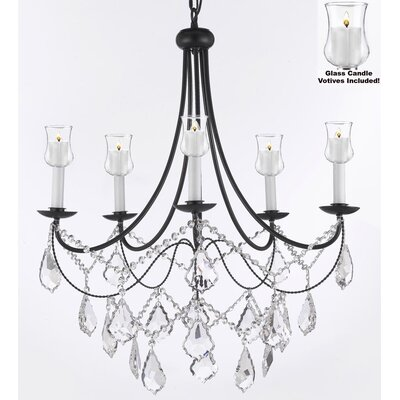 Faxon 5-Light Black Crystal Chandelier
