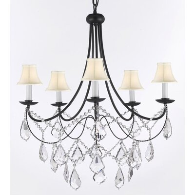 Faxon 5-Light Black/Beige Shaded Chandelier