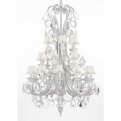 24-Light Crystal Chandelier Shade Color: White