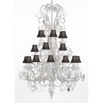 24-Light Crystal Chandelier Shade Color: Black