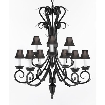 9-Light Shaded Chandelier Shade Color: Black