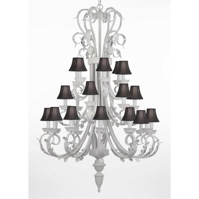24-Light Shaded Chandelier Shade Color: Black