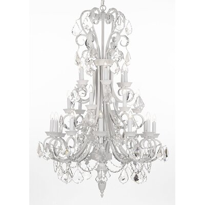 24-Light Crystal Chandelier Finish: White