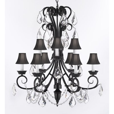 Kenn 9-Light Crystal Chandelier Shade Color: Black