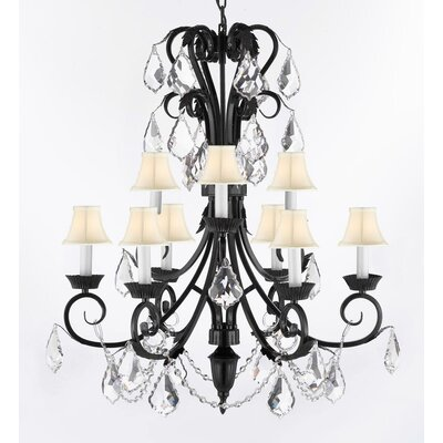 Kendig 9-Light Crystal Chandelier Crystal Grade: Empress