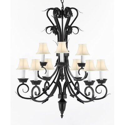 9-Light Shaded Chandelier Shade Color: White