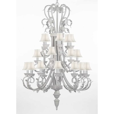 24-Light Shaded Chandelier Shade Color: White