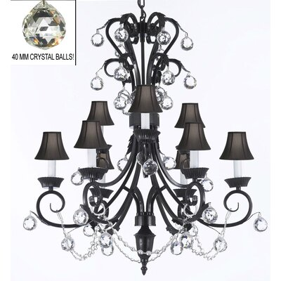 Karns 9-Light Crystal Chandelier Shade Color: Black