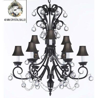 9-Light Crystal Chandelier Shade Color: Black