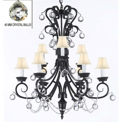 9-Light Crystal Chandelier Shade Color: White