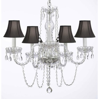 Murano 5-Light Crystal Chandelier Shade Color: Black