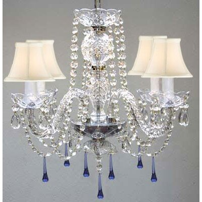 Bowerville 4-Light Crystal Chandelier Shade Color: White