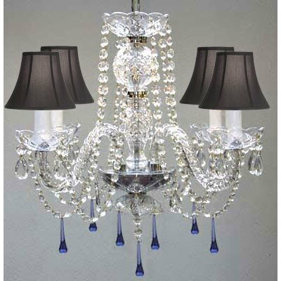 Bowerville 4-Light Crystal Chandelier Shade Color: Black