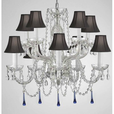 Bowerville 10-Light Crystal Chandelier Shade Color: Black