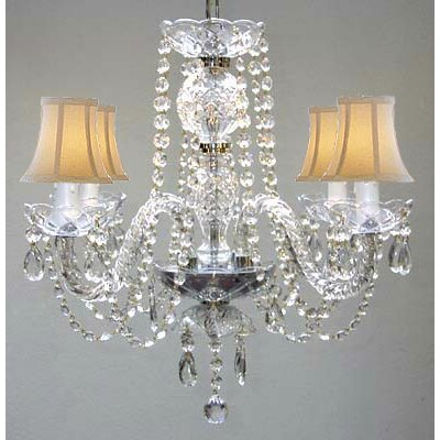Kimbro 4-Light Crystal Chandelier Shade Color: Beige