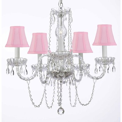 Bowerville 5-Light Crystal Chandelier Shade Color: Pink