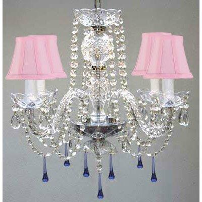 Bowerville 4-Light Crystal Chandelier Shade Color: Pink