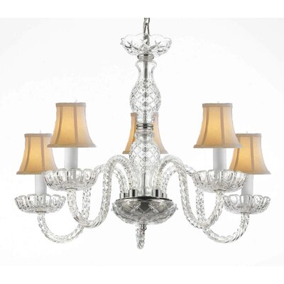 Bowerville 5-Light White Shaded Chandelier