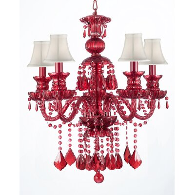 Ruby 5-Light Crystal Chandelier