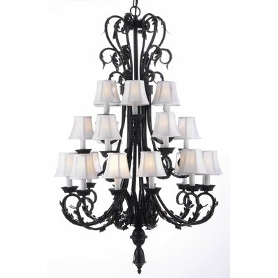 Locking 24-Light Shaded Chandelier