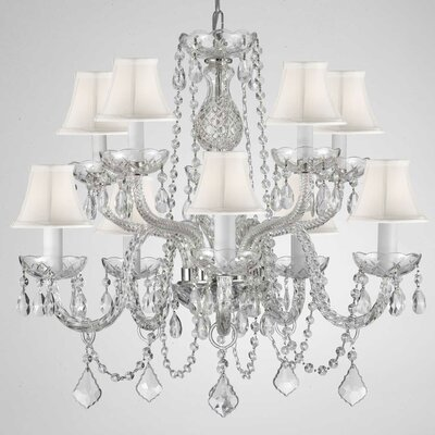 10-Light Crystal Chandelier Crystal Grade: Empress, Shade Color: White