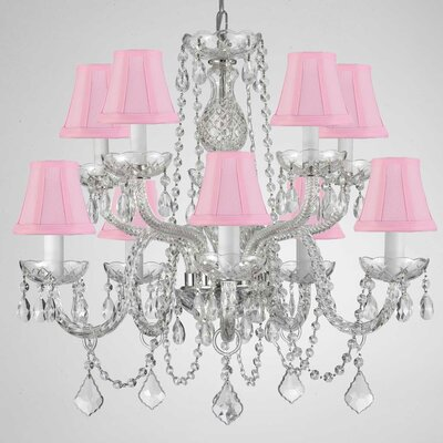 10-Light Crystal Chandelier Crystal Grade: Empress, Shade Color: Pink
