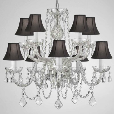 Kerner 10-Light Crystal Chandelier Crystal Grade: Empress, Shade Color: Black