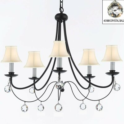 Clemence 5-Light Wrought Iron Shaded Chandelier Shade Color: White