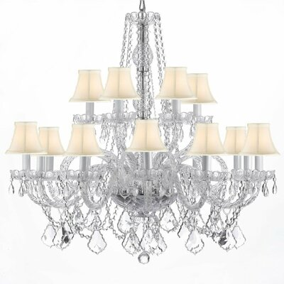 Atchley 11-Light Crystal Chandelier Shade Color: White