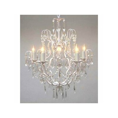 Clemence 5-Light White Chain Crystal Chandelier