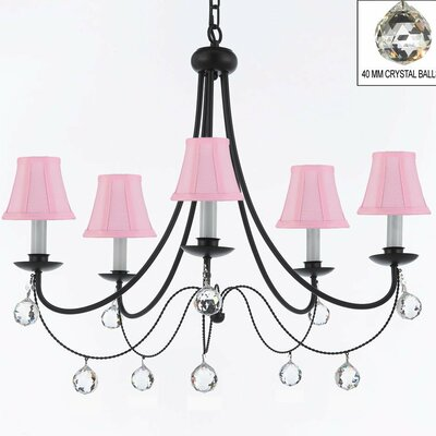 Clemence 5-Light Wrought Iron Shaded Chandelier Shade Color: Pink