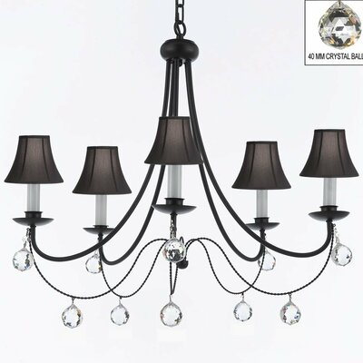 Clemence 5-Light Wrought Iron Shaded Chandelier Shade Color: Black