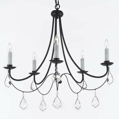 Clemence 5-Light Wrought Iron Candle-Style Chandelier