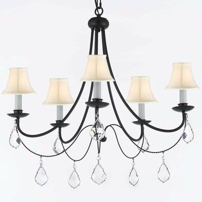 Clemence 5-Light Shaded Chandelier with Chain and Wire Shade Color: White