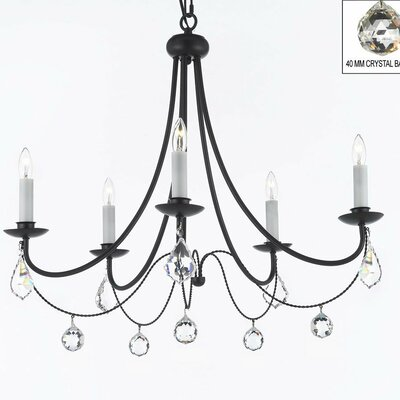 Clemence 5-Light Black Candle-Style Chandelier with Chain and Wire