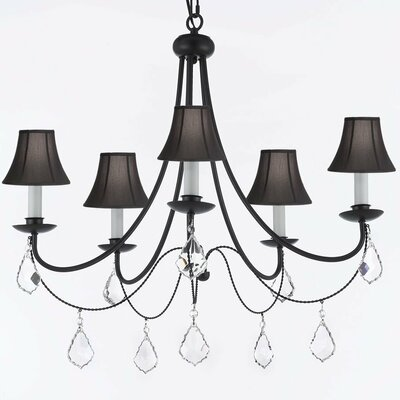 Clemence 5-Light Shaded Chandelier with Chain and Wire Shade Color: Black