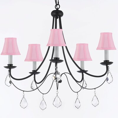 Clemence 5-Light Shaded Chandelier with Chain and Wire Shade Color: Pink