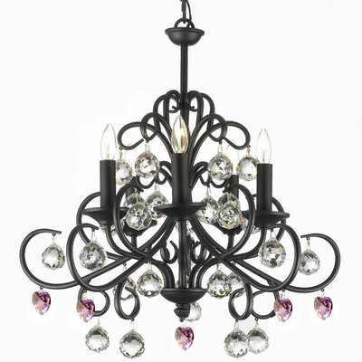 Clemence 5-Light Black Wrought Iron Base Crystal Chandelier