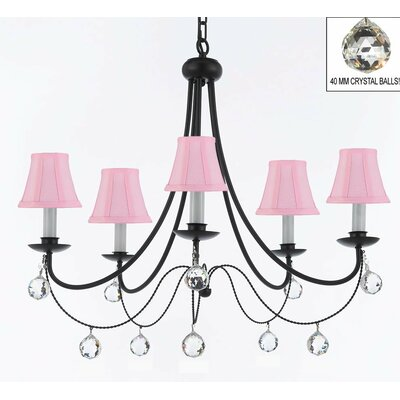 Clemence 5-Light Pink/Black Shaded Chandelier