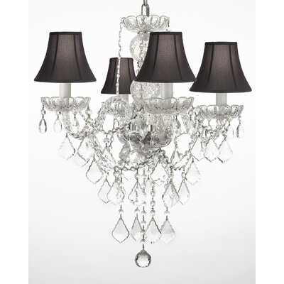 Hoffman 4-Light Crystal Chandelier Shade Color: Black