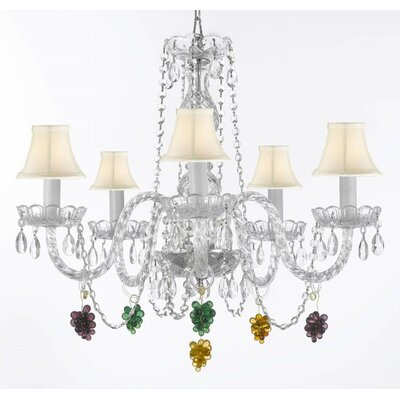 Atherstone 5-Light Beige Crystal Chandelier