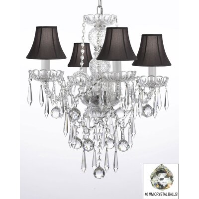 4-Light Crystal Chandelier Shade Color: Black